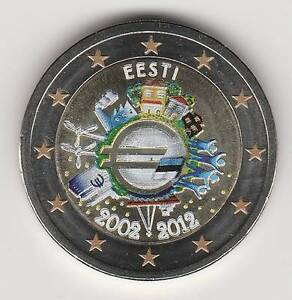 -- 2 EURO COULEUR / ESTONIE 2012 -- 10 ANS DE L'EURO