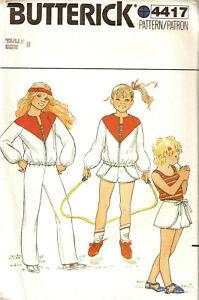 BUTTERICK-4417-VINTAGE-GIRLS-WRAP-SHORTS-TANK-TOP-JOGGING-JACKET-PANTS-SZ-8