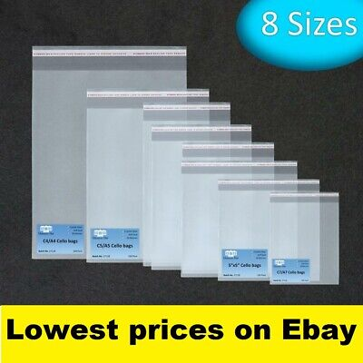 250 Cellophane Clear Peel /& Seal C7 Cello Bags for Greeting Cards /& Prints
