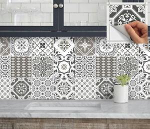 Tile Stickers For Kitchen Backsplash Floor Bath Removable Patchwork Grey Pmix5 Ebay