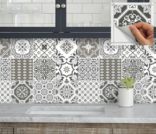 Ornamental floral Black Grey Tile Stickers for 6x6 Inches 4x4 and 3x3 tiles ma1