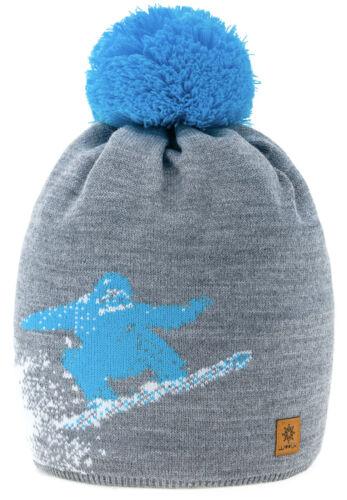 Unisex Beanie Warm Winter Fliper Knitted Bobble Hat Plain Ski Pom Wooly Liner