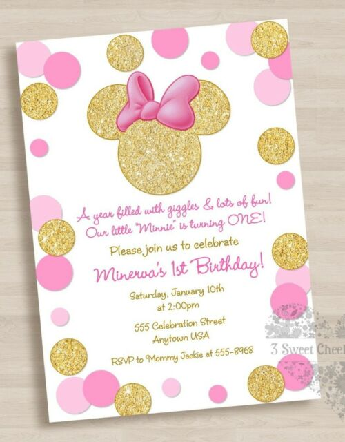 10 Minnie Mouse Pink Gold 1st Birthday Or Baby Shower Invitations
