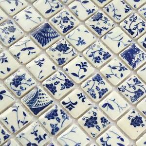 Square Tile Bathroom Wall Mosaic Blue And White Tiles ...