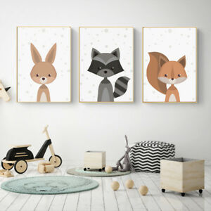 Charming Details About Cartoon Fox Animal Canvas Poster Nordic Art Prints Baby Kids  Room Wall Decor