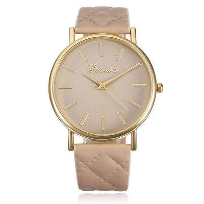 Geneva Watch Fashion Women Leather Band Analog Quartz Dress Wrist Watches Beige