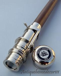 Brass-Wooden-Walking-Cane-Walking-Stick-Folding-Telescope-Gentle-Men-Gift-Item