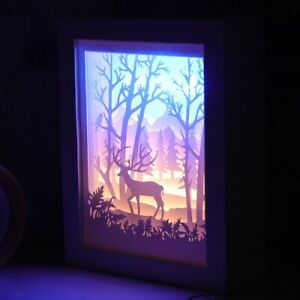 Details About Forest Deer Papercut Light Box Decorative Shadow Led Lamp Night Lights