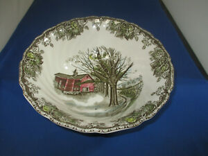 """The Friendly Village Round Serving Bowl 8""""x2-3/4"""" Johnson Brothers Autumn Mists"""