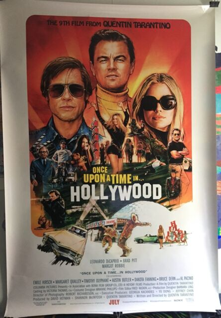 """Once Upon a Time in Hollywood Tarantino DiCaprio Brad Pitt Movie Poster 27/""""×40/"""""""