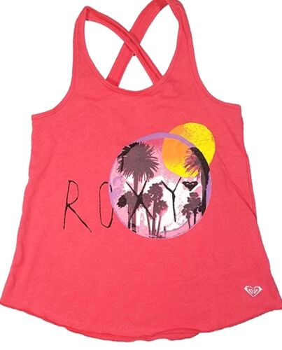 NEW GIRLS LARGE 14 16 ROXY GIRL GRAPHIC SHIRT TANK TOP CORAL SUNSET PALM TREE