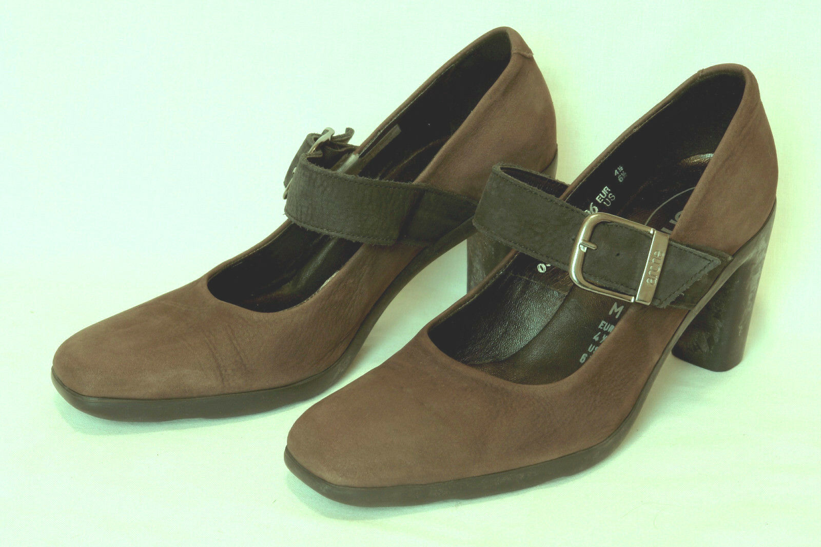ARCHE  FRANCE  SEMI-SQUARE-TOE MARY JANE IN BROWN NUBUCK  SZ  6.5 EXCELLENT