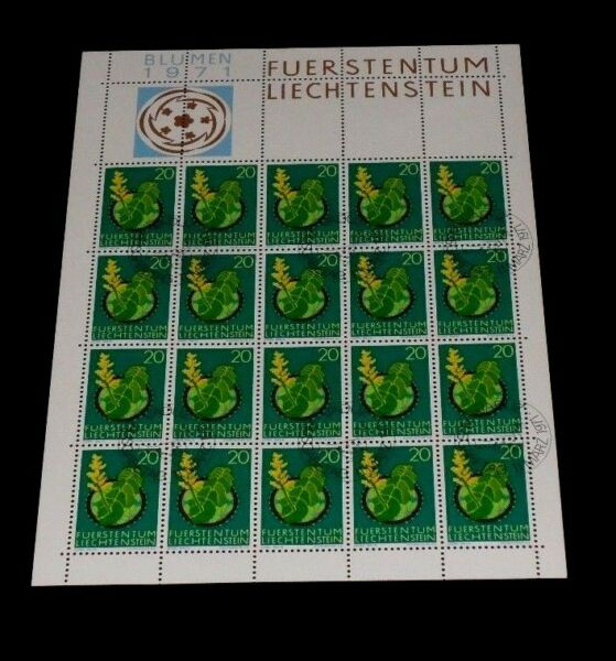 1971, Liechtenstein, Fleurs, Numéro 0.20, Feuille/20, Annulée Pour Commander, Nice! Lqqk!
