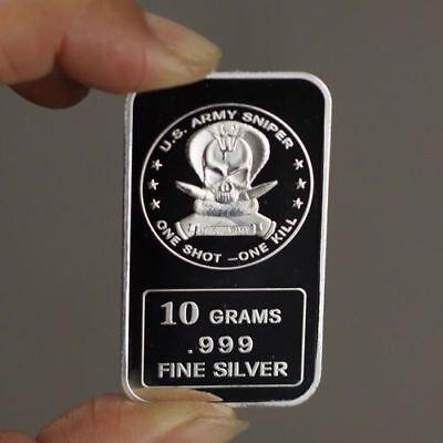 10 Grams .999 Fine Silver Art Bar U.S Army Sniper One shot one kill TSB029 oz