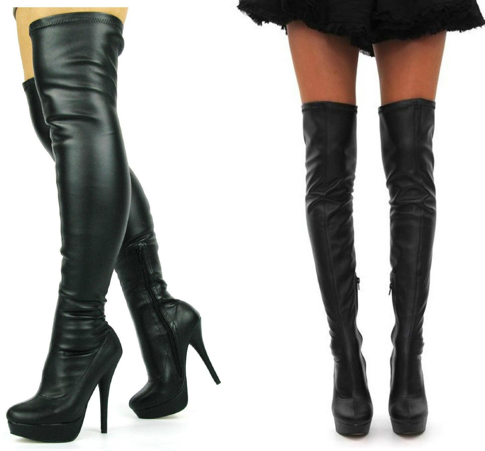 Damen Stilleto High Heel Über Knie Stiefel Stiefel Schenkel hoch Schwarz Stretch