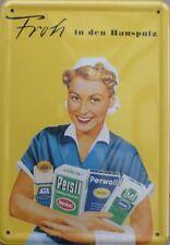 Blechpostkarte 10x15cm Ata Persil Perwoll IMI Hausputz Blech Postkarte Henkel