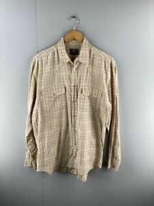 Profile-Mens-Brown-Check-Vintage-Long-Sleeve-Snap-Button-Up-Shirt-Size-Large