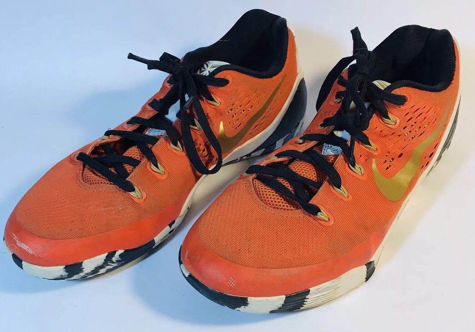 Nike iD Kobe 9 IX orange Black gold Striped Sole SZ9 Basketball shoes 688501-988