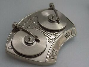 Chrome Silver Turntable Belt Buckle DJ Old School style