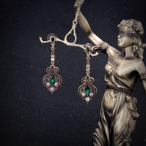 Boucles d`Oreilles Clous Doré Vert Emeraude Art Deco Chandelier Filigrane BB10