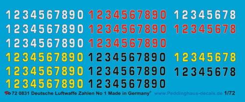 Peddinghaus  1//72 0831 Deutsche Luftwaffe Zahlen No 1