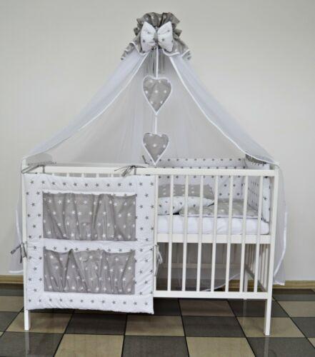 GREY ELEPHANT BABY BEDDING SET COT or COT BED 5 7 9 Pcs INC LUXURY CANOPY MORE