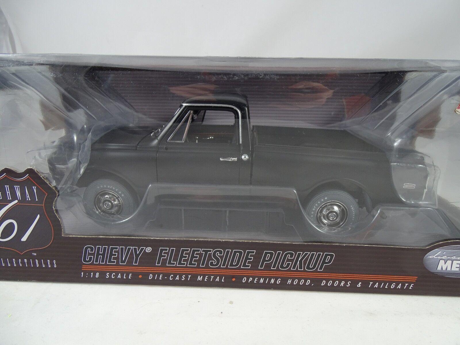 1 18 Highway 61 Chevy fleetside pickup nero mate-rareza