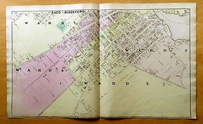 Original Antique 1872 Map Saco Biddeford Me Ward 2 3 4 5 Maine Very Detailed Ebay
