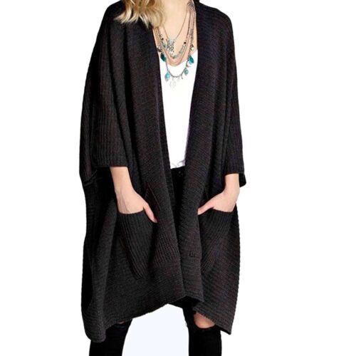 Femme Femmes Surdimensionné poche Baggy Pull Cardigan Cape Fashion Top