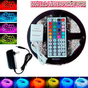 5M-SMD-RGB-5050-Waterproof-LED-Strip-light-300-amp-44-Key-Remote-amp-12V-Supply-Power