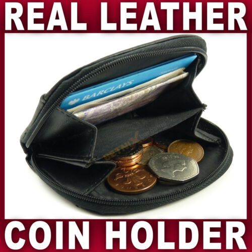 Black REAL LEATHER COIN HOLDER wallet purse small credit card GENTS LADIES NEW