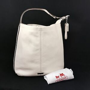 Image is loading COACH-Large-Leather-Hobo-Shoulder-Tote-Bag-white- 07da5a42d2c64