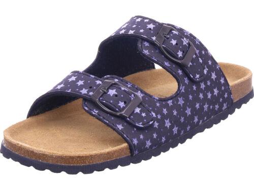 Softwaves Mädchen Bio Kinder Pantolette Sandalen Hausschuhe blau