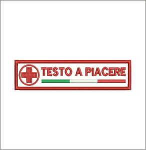 Patch-CROCE-ROSSA-ITALIANA-TUO-NOME-cm-12x3-toppa-con-VEL-CRO-ricamo-636