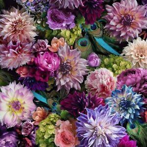 52-034-Remnant-Hoffman-Spectrum-Digital-Print-Fabric-Proud-as-a-Peacock-Floral