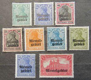 "Memel 1920 German Empire Stamps ovptd ""Memel"", incompl.set, Mi #1-17 CV=EUR50 MH"