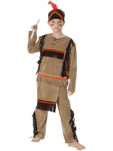 INDIAN Boy/'s Kids Nativo Americano Costume Cowboy Indiani Costume Bambino NUOVO