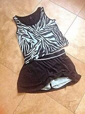 LBH FOR LILLY OF BEVERLY HILLS XL , 2 PC TENNIS OUTFIT AQUA, BLK, SKORT W/SHORTY