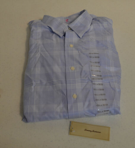 "Tommy Bahama /""BLUE//WHITE #400/"" Plaid L//S Dress Shirt-17 x 32//33-NWT"