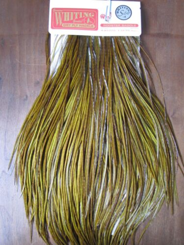 Fly Tying Whiting Silver Rooster Saddle White dyed Dark Olive #B