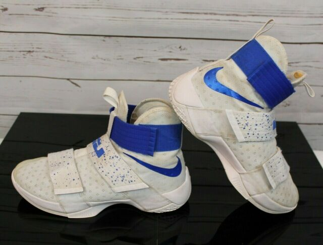 online retailer 3d641 ffcfe Nike LBJ LeBron Soldier 10 Ten X Men's Sz 8 Blue White Sneakers Shoes  844374-164