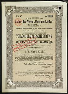 GERMANY-935-B-amp-G-Actien-Bau-Verein-034-Unter-den-Linden-034-4-1000-Mark-1906-Berlin