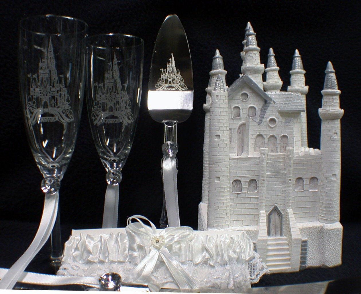 Conte De Fées Castle wedding cake topper toastage Verres Lot de Couteaux Lot Cendrillon