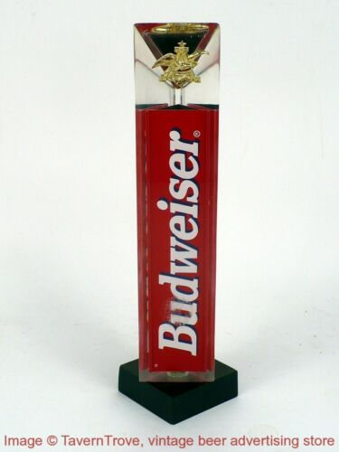 """Details about  /1990s Red White /& Blue BUDWEISER 8/"""" Acrylic Prism Triangle Tap Tavern Trove"""