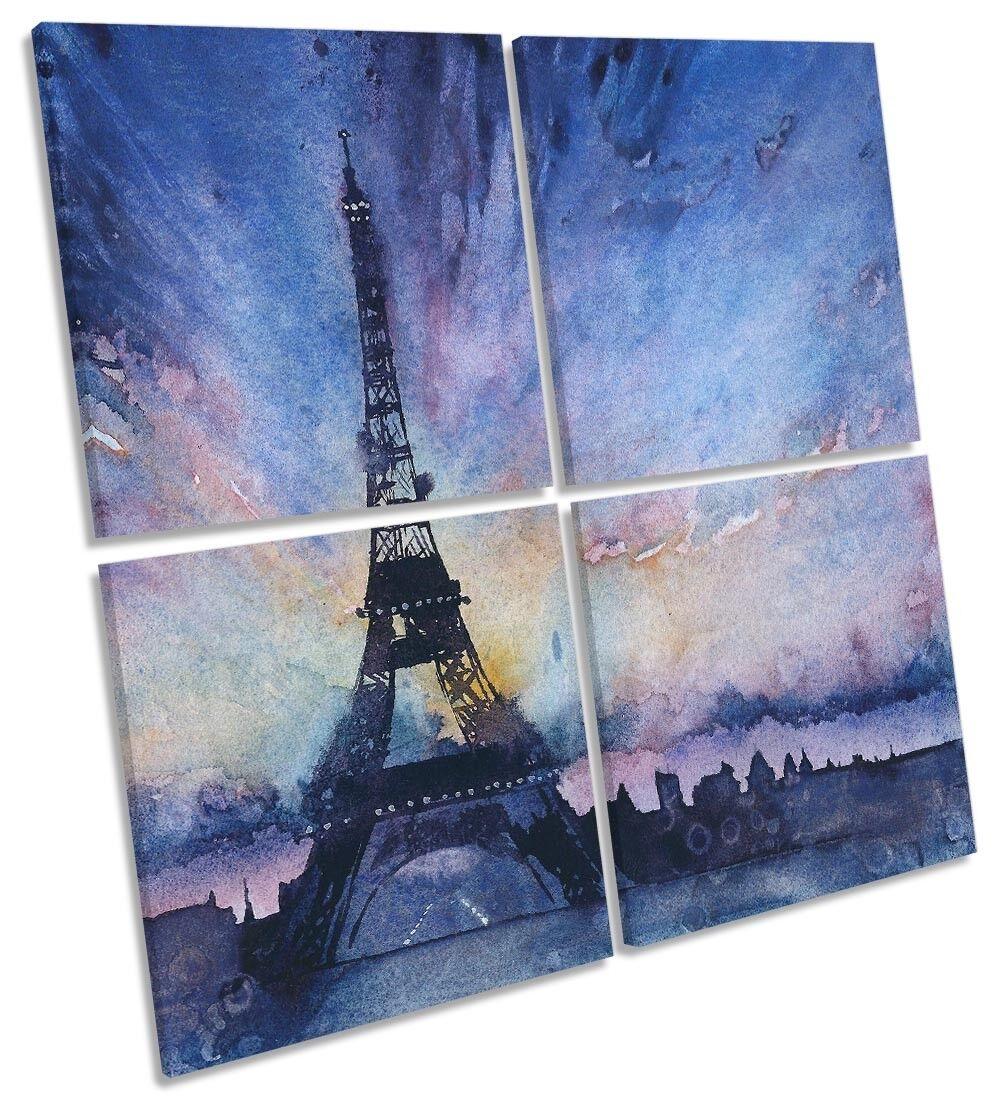 blu Torre Eiffel acquerello Multi a muro opera d'arte art SQUARE
