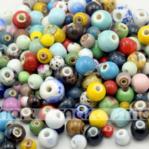 100 Divers Design et Couleur Ronde en Céramique Perles Eco-Friendly Matériau 6-13 mm