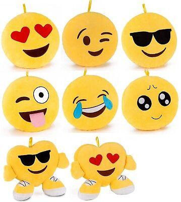 BRUBAKER Plüsch Kissen Smiley Emoji 2530cm Dekokissen Emoticon Rund Herzkissen   eBay