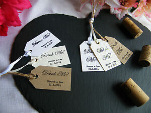 Image Is Loading Personalised Wedding 039 Drink Me Favour Tags