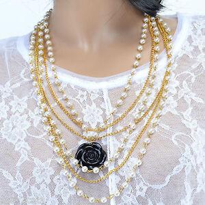 b716d808c51d6 Collier Femme sautoir perle chaine or pendentif rose noir ARLY ...
