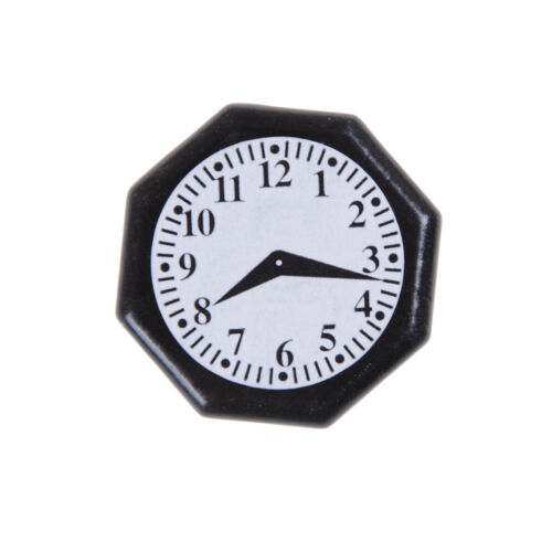 Wooden Black Octagonal Clock for 1:12 Dollhouse Miniature Furniture P0CA